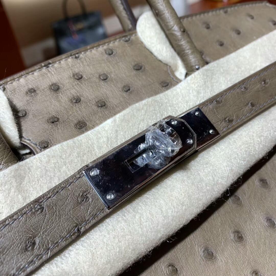 爱马仕铂金包 Birkin 30cm Ostrich 4A Cafe 咖啡色 银扣 蜜蜡线纯手缝