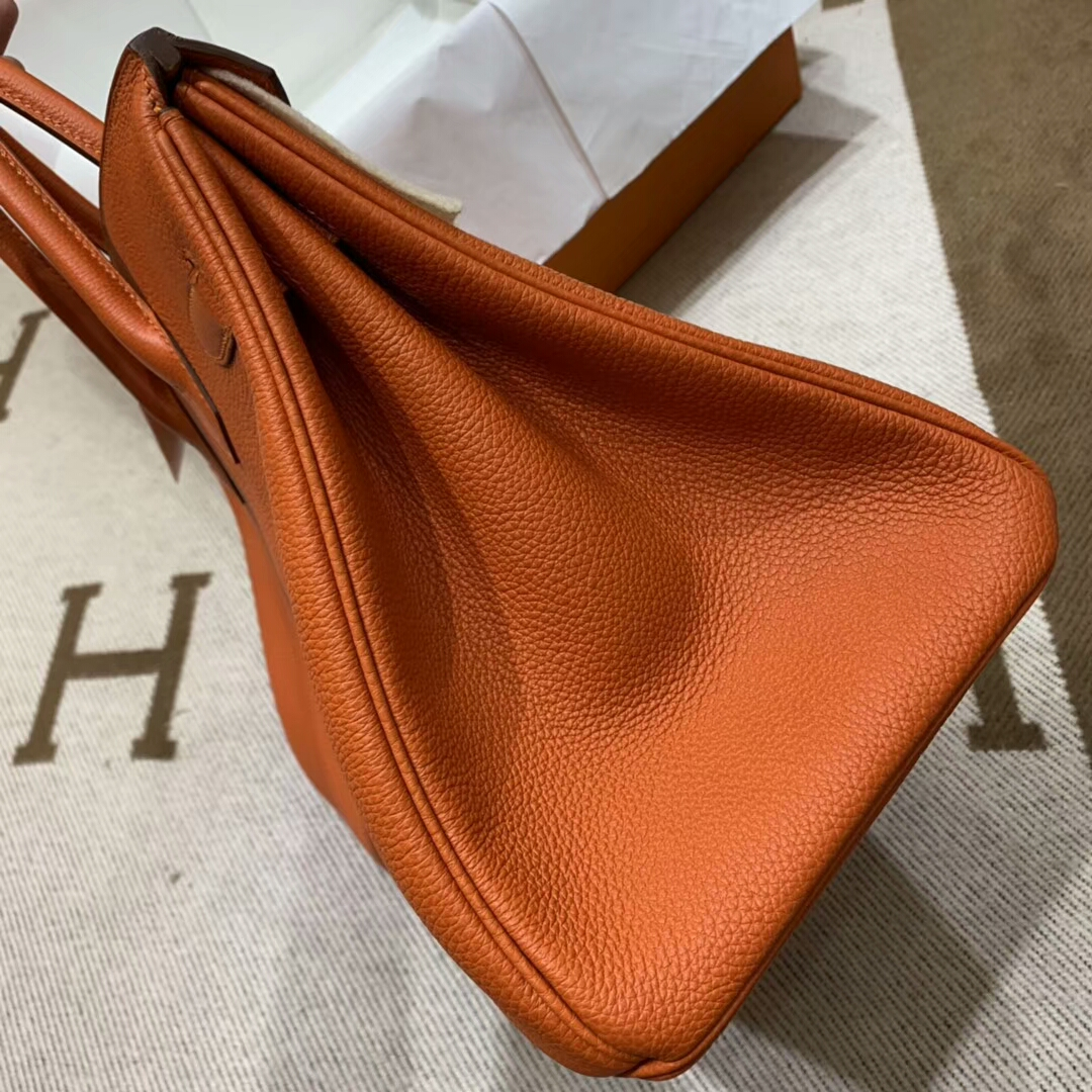 爱马仕铂金包 Birkin 35cm Togo小牛 93 Orange 橙色 银扣 顶级工艺 手缝蜡线