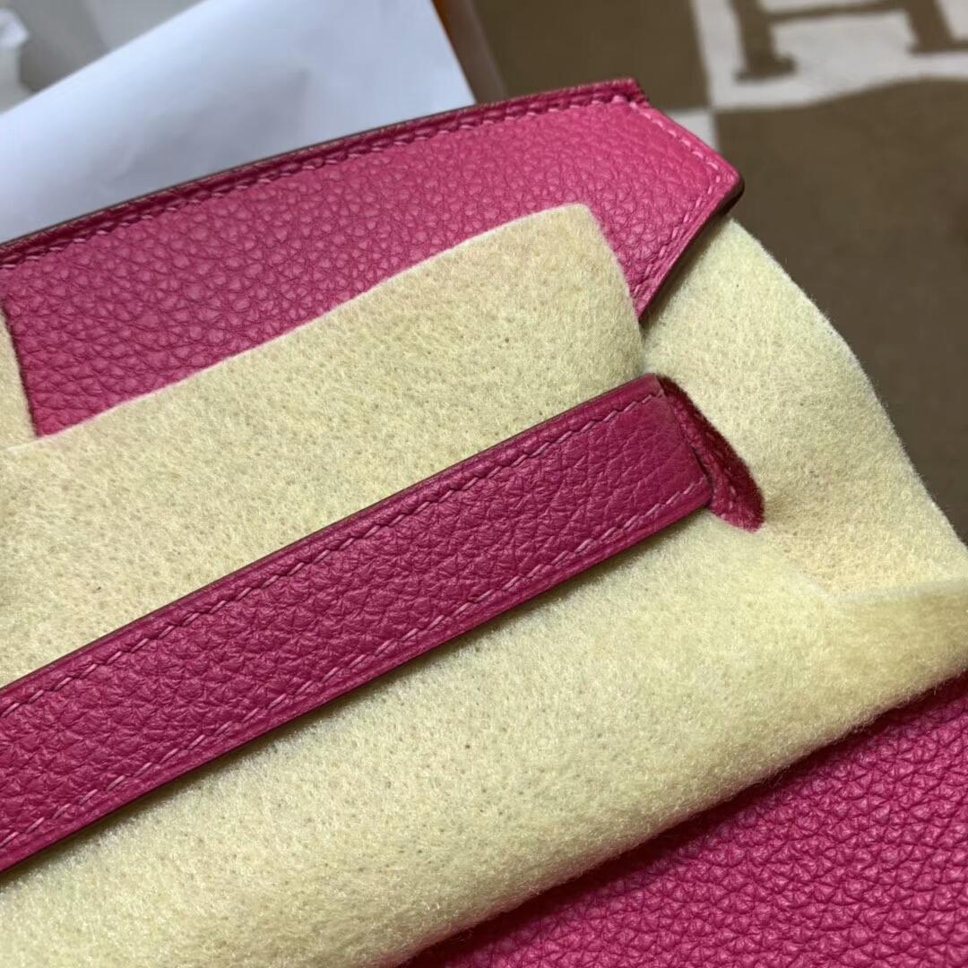 爱马仕铂金包 Birkin 35cm Togo小牛 E5 Rose Tyrien 玫红 银扣 顶级工艺 手缝蜡线