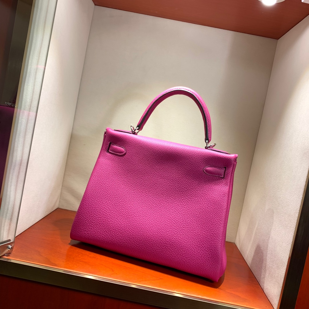 爱马仕凯莉包 Kelly 28cm 法国顶级Togo L3 Rose Purple 玫瑰紫 银扣 顶尖工艺
