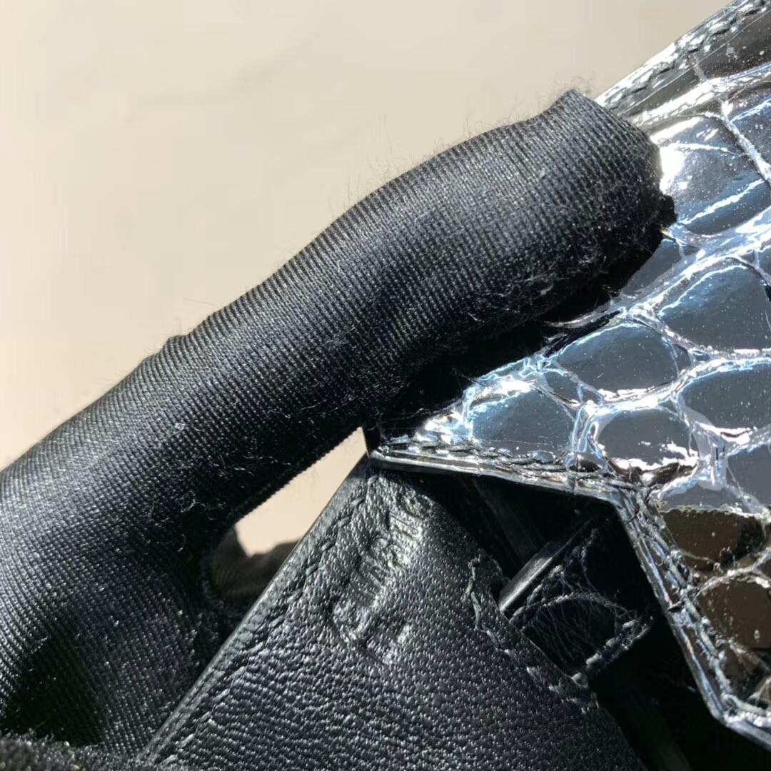 Hermes铂金包 Birkin 25cm 亮面两点尼罗鳄 89 Noir 黑色 金扣 蜜蜡线全手缝