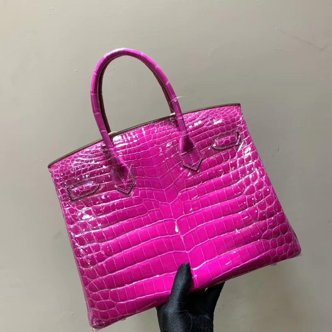 Hermes铂金包 Birkin 30cm 亮面两点尼罗鳄 J5 Rose Sheherazade 天方夜谭紫 银扣 蜜蜡线全手缝