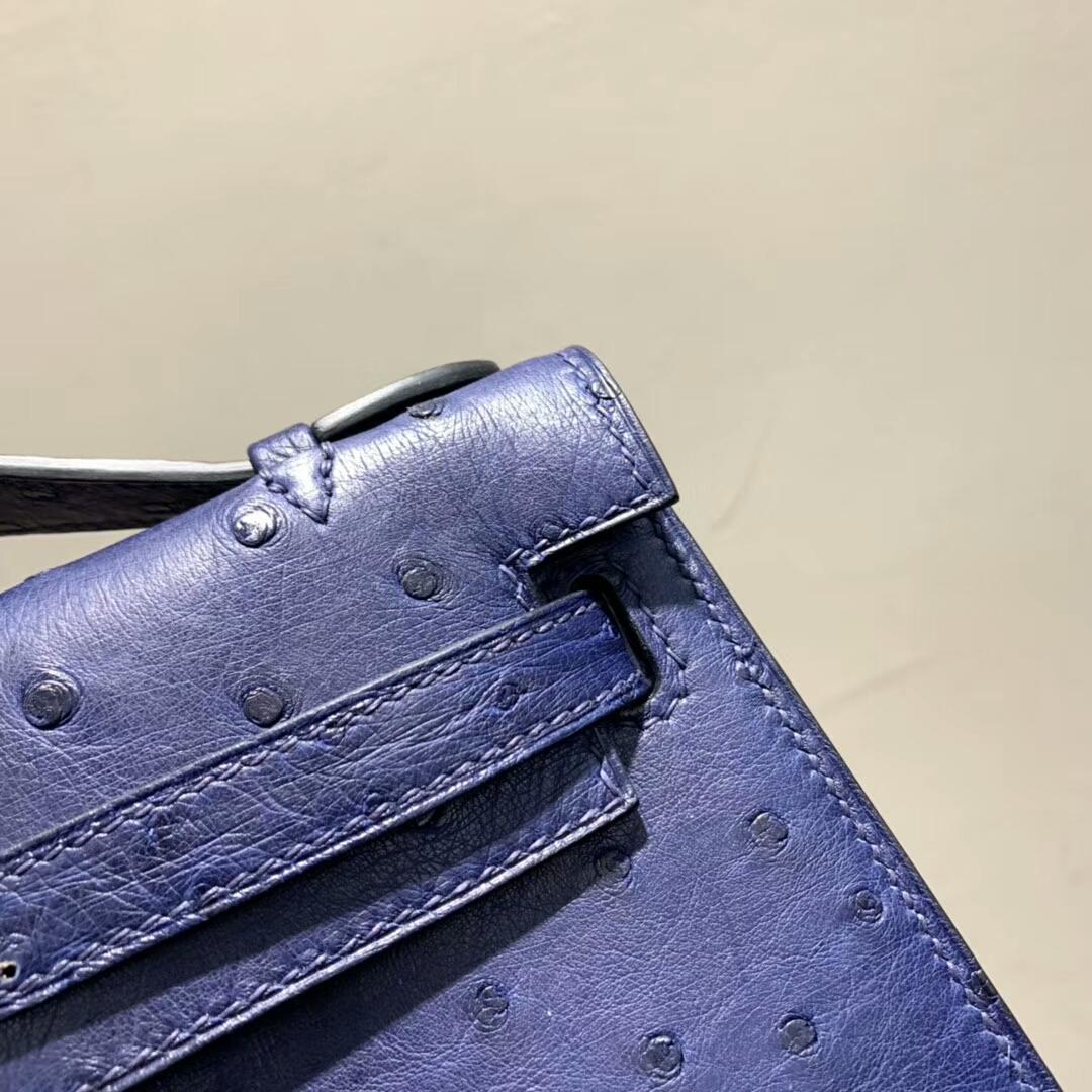 爱马仕包包 Mini Kelly Pochette 南非Ostrich 宝石蓝 银扣 蜜蜡线手缝 现货秒发