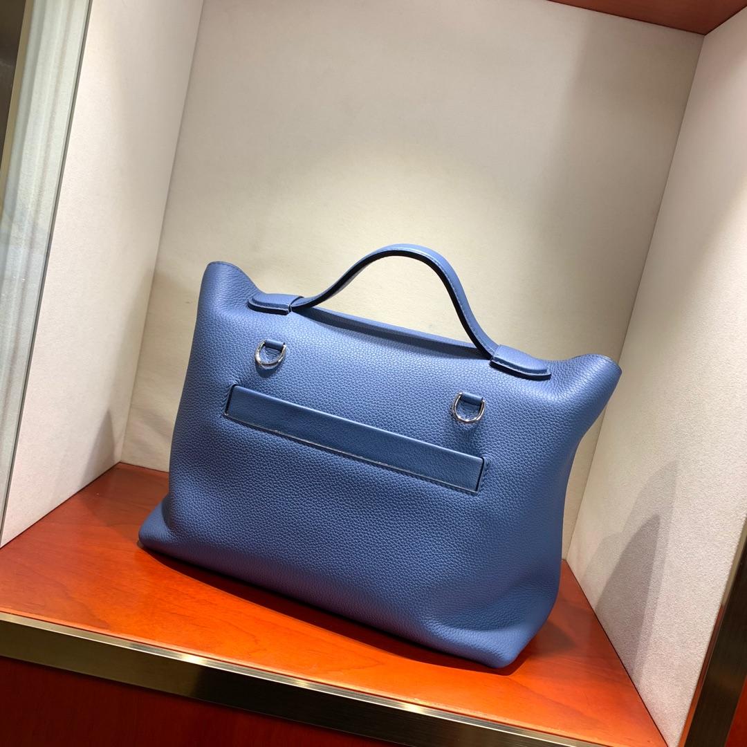 爱马仕包包 24-24Kelly 29cm 法国原产Togo R2 Blue Agate 玛瑙蓝 银扣 Birkin和Kelly的集合体