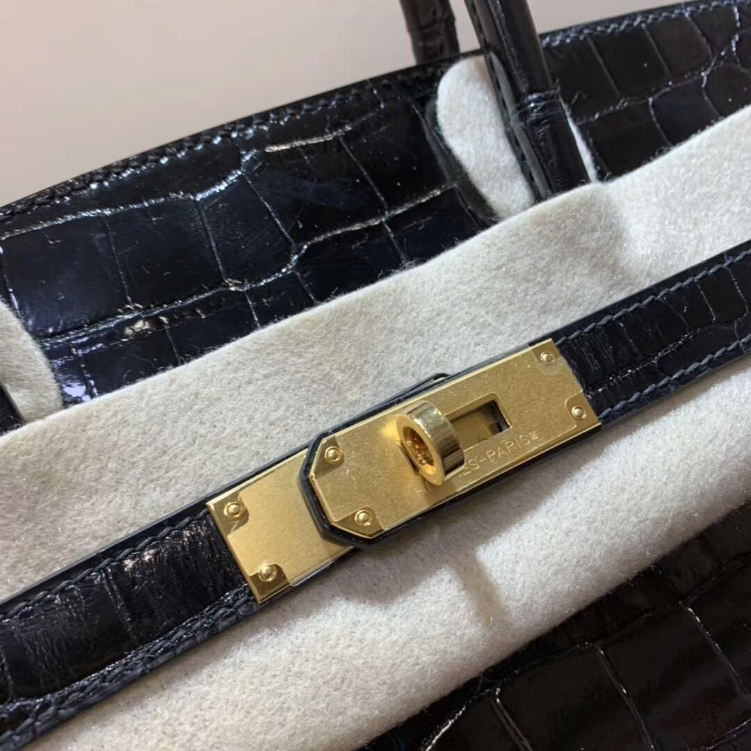 Hermes铂金包 Birkin 30cm 亮面两点尼罗鳄 89 Noir 黑色 银扣蜜蜡线全手缝
