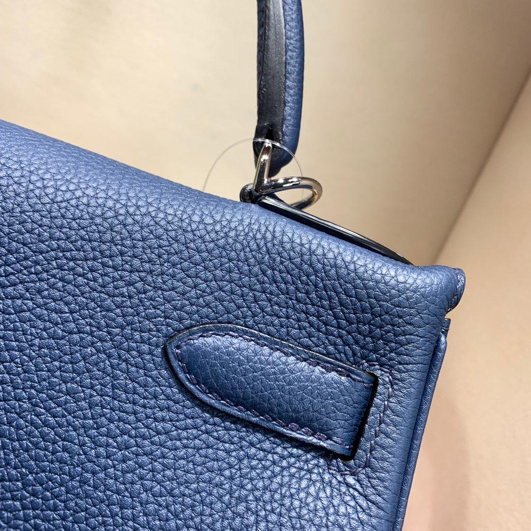 爱马仕凯莉包 Kelly 28cm 法国顶级Togo 73 Blue Saphir 宝石蓝 银扣 顶尖工艺