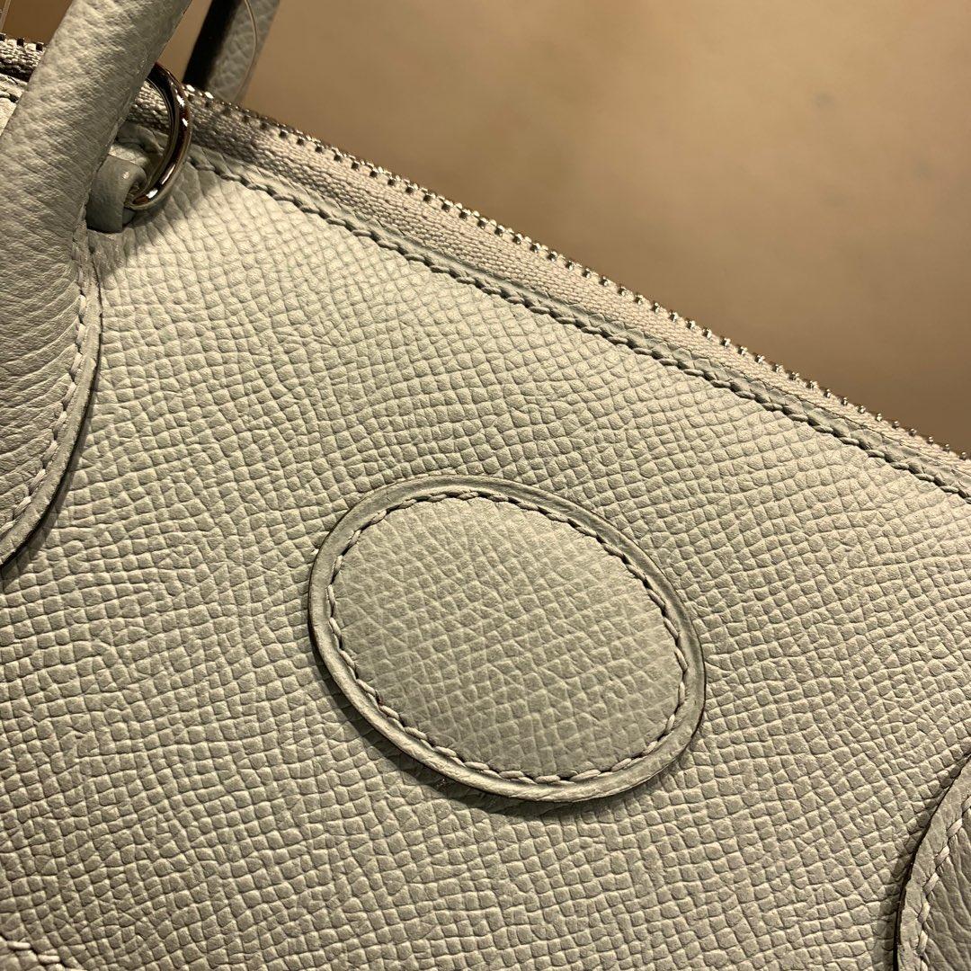 爱马仕包包 Bolide 27cm 法国顶级Epsom 8U Glacierw 冰川灰 银扣 顶尖工艺手缝蜡线