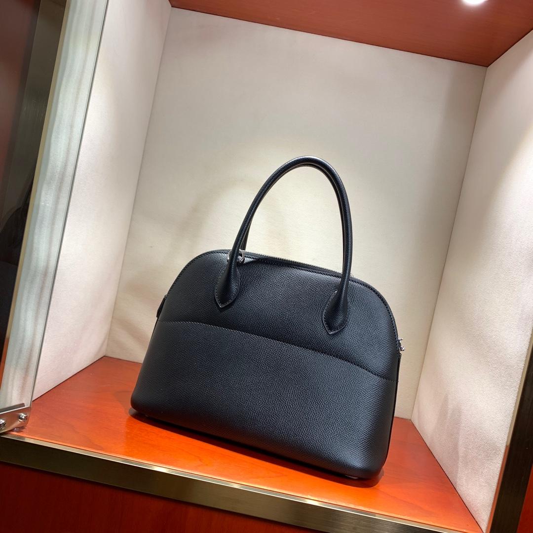 爱马仕包包 Bolide 27cm 法国顶级Epsom 89 Noir 黑色 银扣 顶尖工艺手缝蜡线