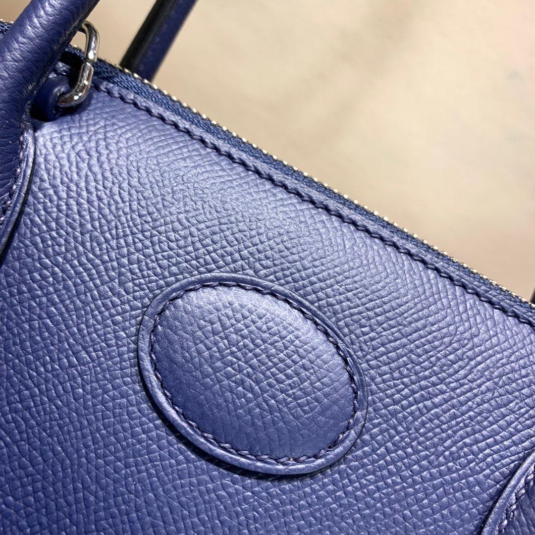 爱马仕包包 Bolide 27cm 法国顶级Epsom 73 Blue Saphir 宝石蓝 银扣 顶尖工艺手缝蜡线