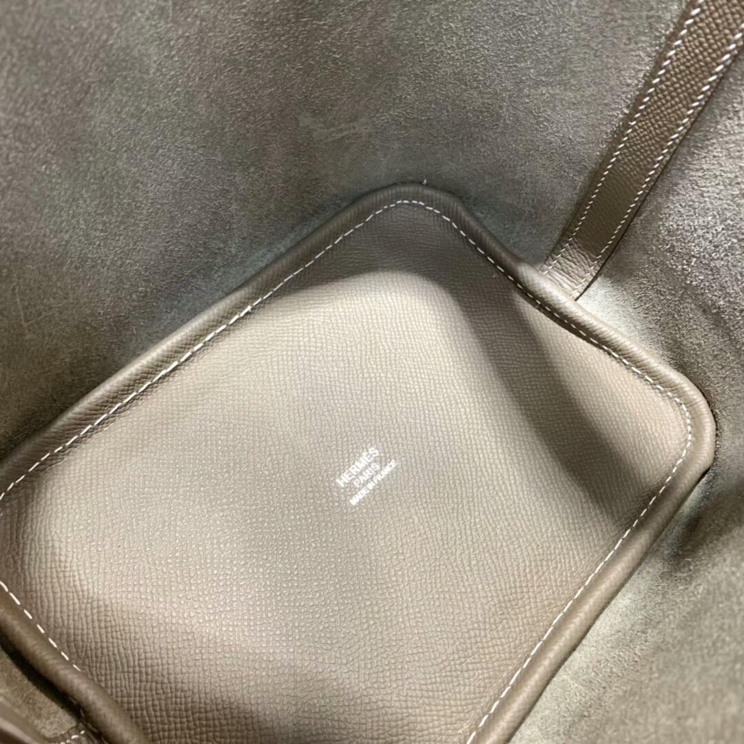 爱马仕菜篮子 Picotin Lock 18cm 法国Epsom 大象灰 银扣 蜡线手缝