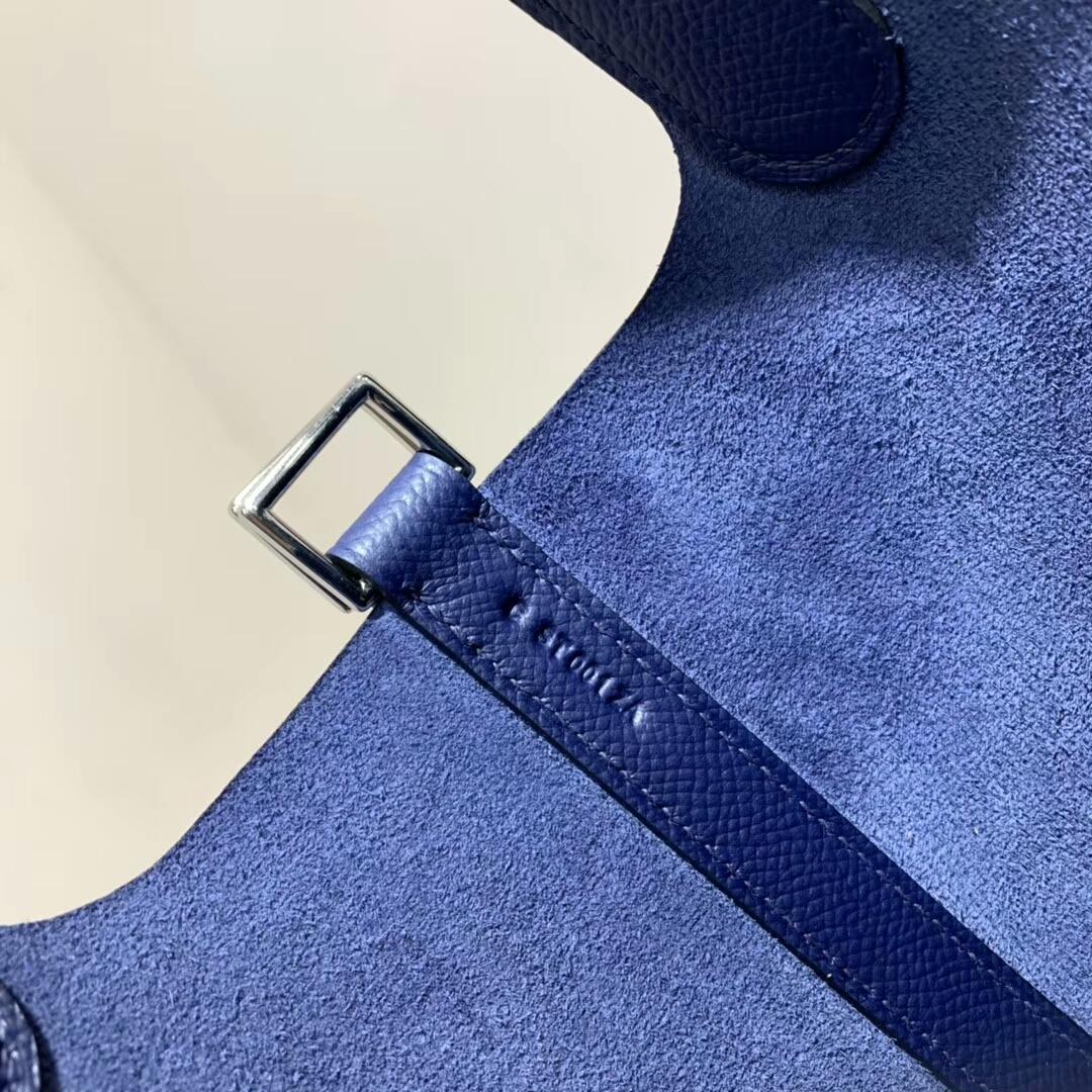 爱马仕菜篮子 Picotin Lock 18cm 法国Epsom 宝石蓝 银扣 蜡线手缝