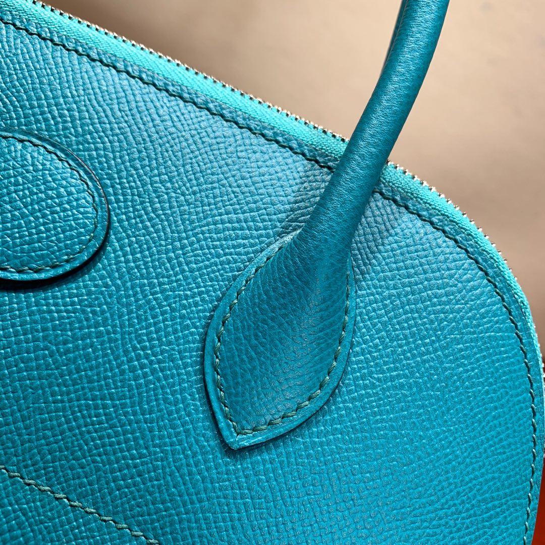 爱马仕包包 Bolide 27cm 法国顶级Epsom 7F Blue Paon 孔雀蓝 银扣 顶尖工艺手缝蜡线