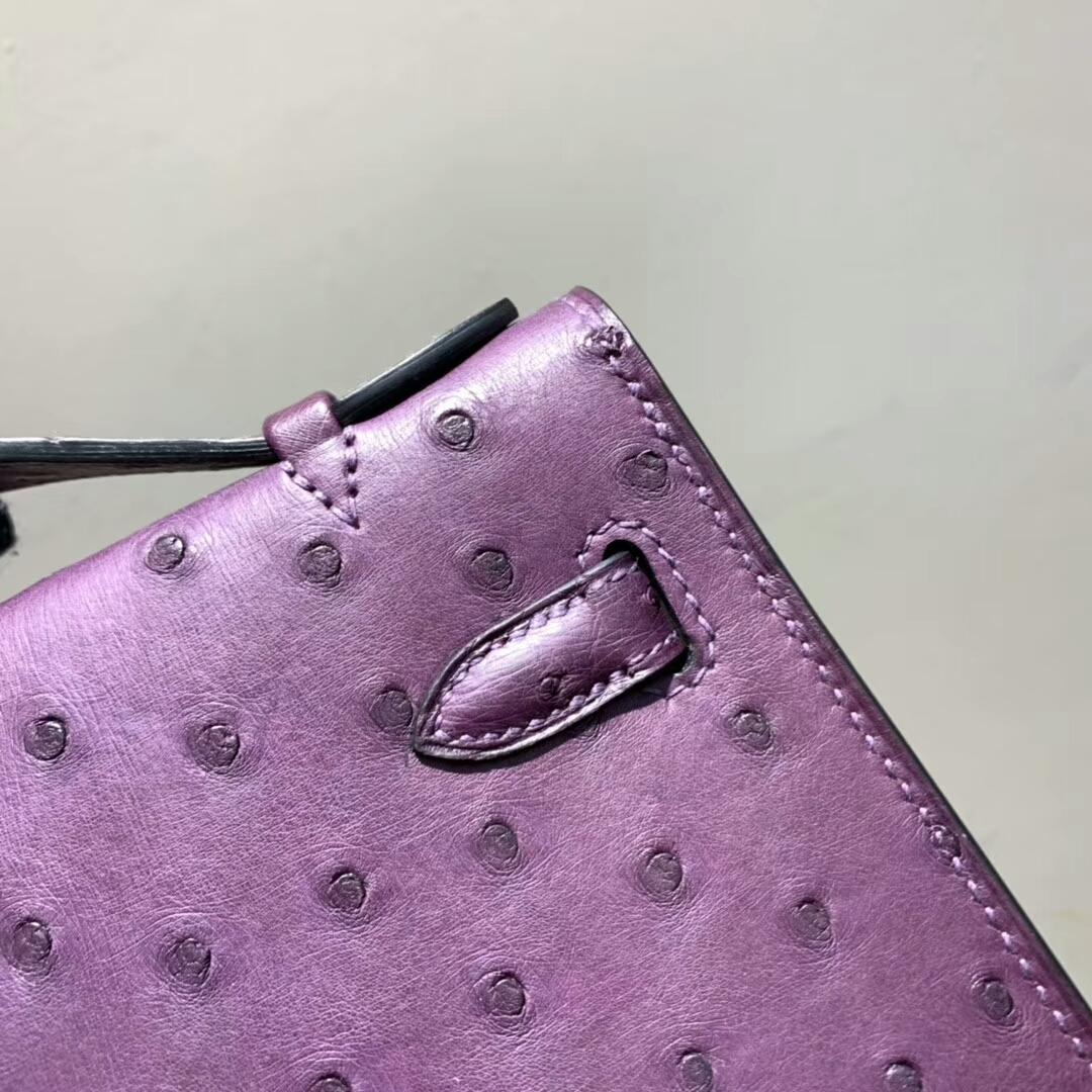 爱马仕包包 Mini Kelly Pochette 南非Ostrich 梦幻紫 银扣 蜜蜡线手缝 现货秒发