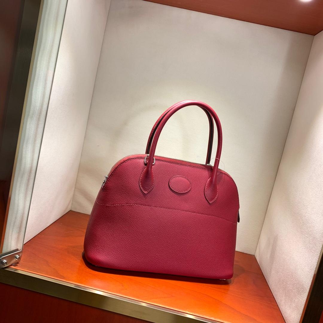 爱马仕包包 Bolide 27cm 法国顶级Epsom K1 Rouge Grenat 石榴红 银扣 顶尖工艺手缝蜡线