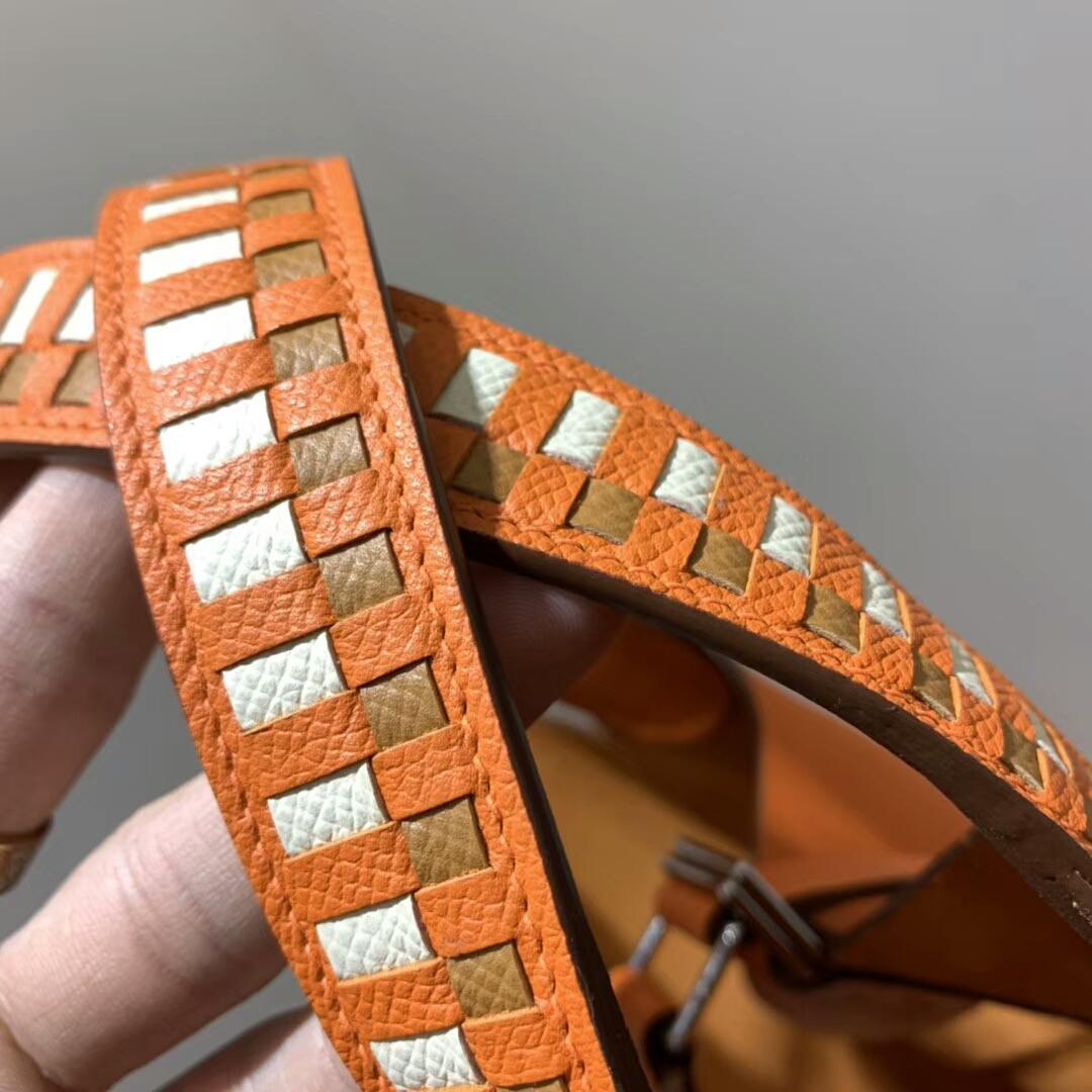 爱马仕菜篮子 Picotin Lock 18cm 法国Epsom 橙色 银扣 蜡线手缝