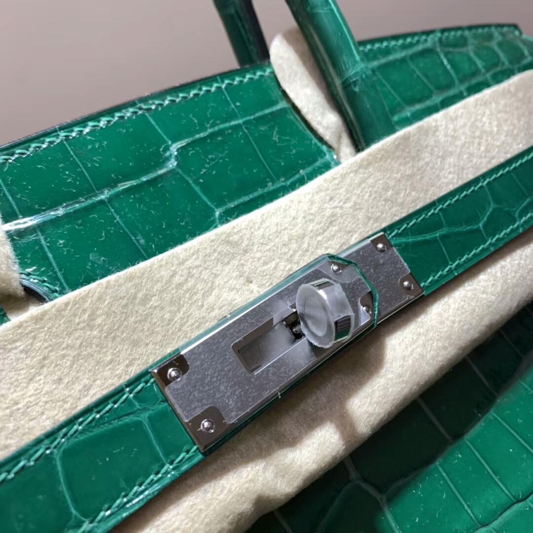 Hermes铂金包 Birkin 30cm 亮面两点尼罗鳄 6Q Emeraud 翡翠绿 银扣 蜜蜡线全手缝