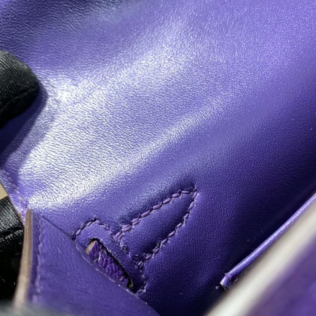 爱马仕包包批发 Mini Kelly2代 19cm Chevre de Coromandel 山羊皮 9W Crocus 新梦幻紫 银扣 火爆全球