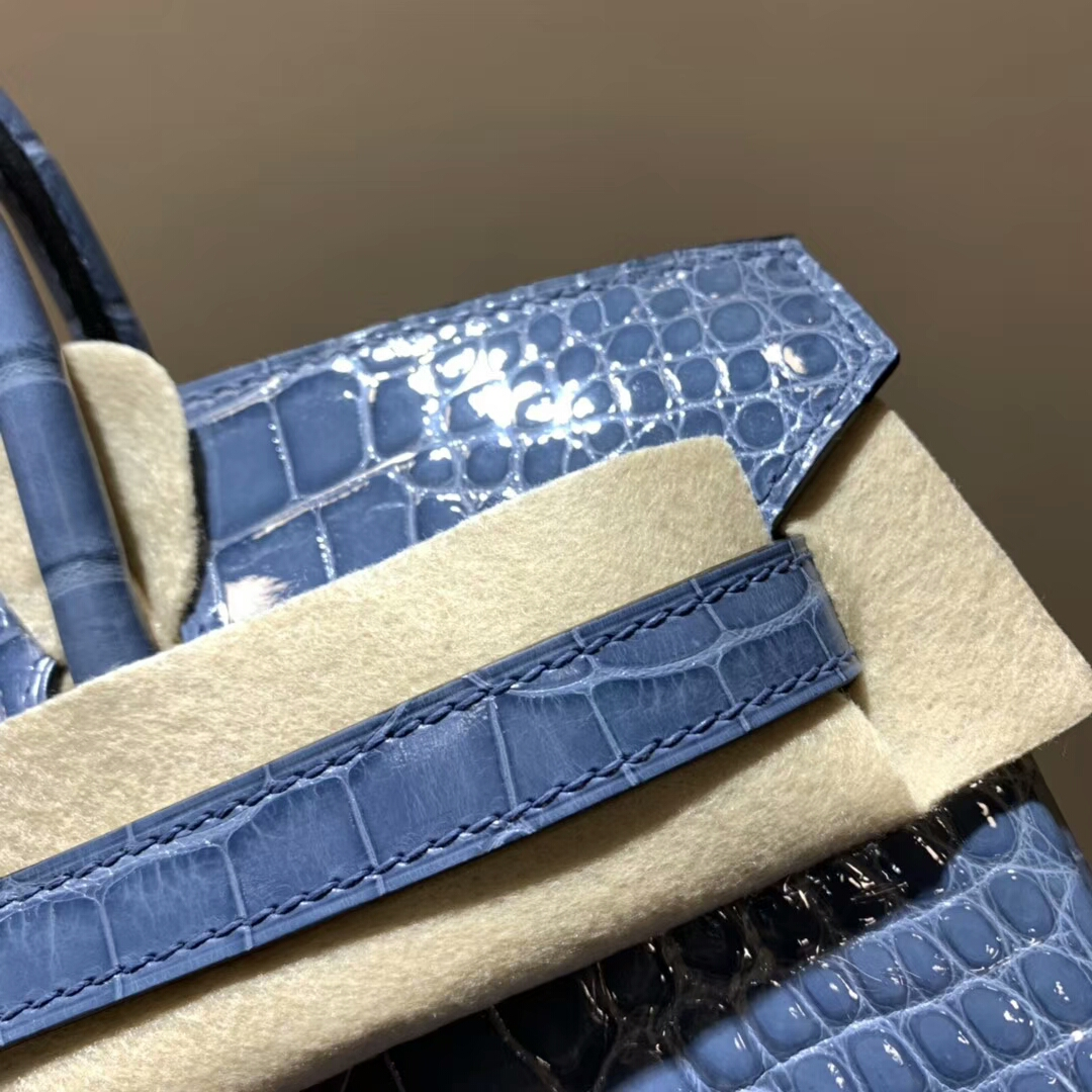 爱马仕铂金包 Birkin 25cm Shiny Alligator Crocodile 亮面方块美洲鳄 N7 Blue 风暴蓝 银扣