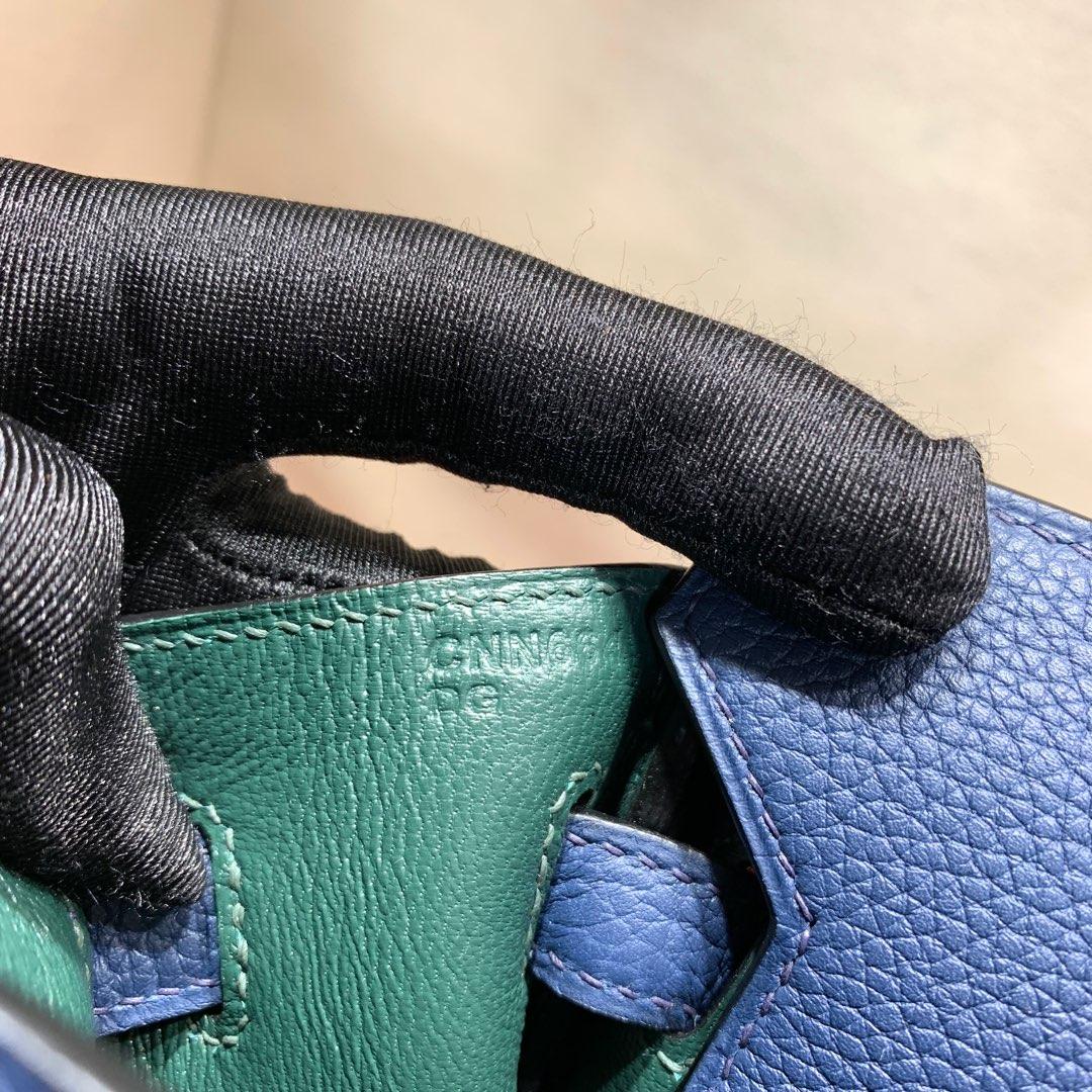 爱马仕2018 AW秋冬限量版 Birkin 25cm Officier 73 Blue Saphir 宝石蓝拼 Z6 Malachite 孔雀绿 银扣 顶尖工艺