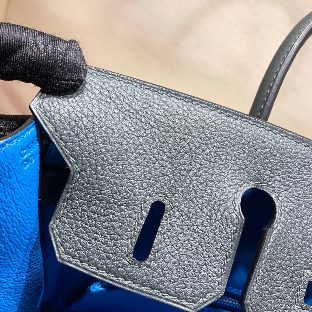 爱马仕2018 AW秋冬限量版 Birkin 25cm Officier CC88 Graphite 石墨灰拼 B3 Zanzibar 坦桑利亚蓝 银扣 顶尖工艺