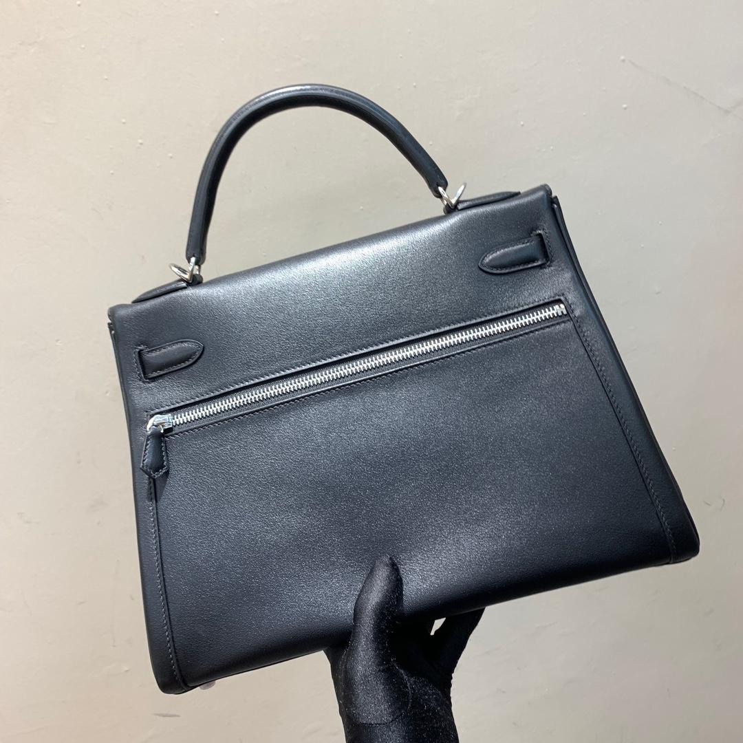 爱马仕包包 Kelly Lakis 32cm 法国顶级swift皮 89 Noir 黑色 银扣 顶级工艺