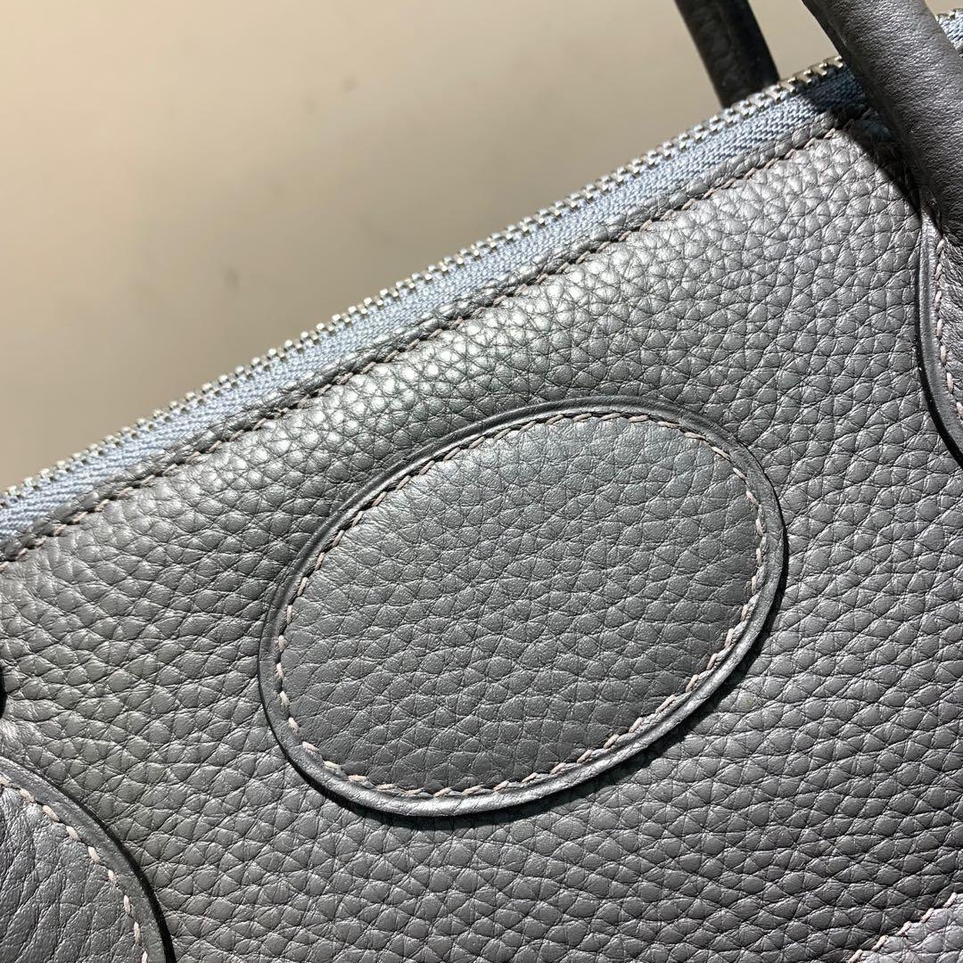 爱马仕Hermes Bolide 31cm Clemence 法国顶级tc皮 88 Graphite 石墨灰 银扣 顶级工艺手缝蜡线