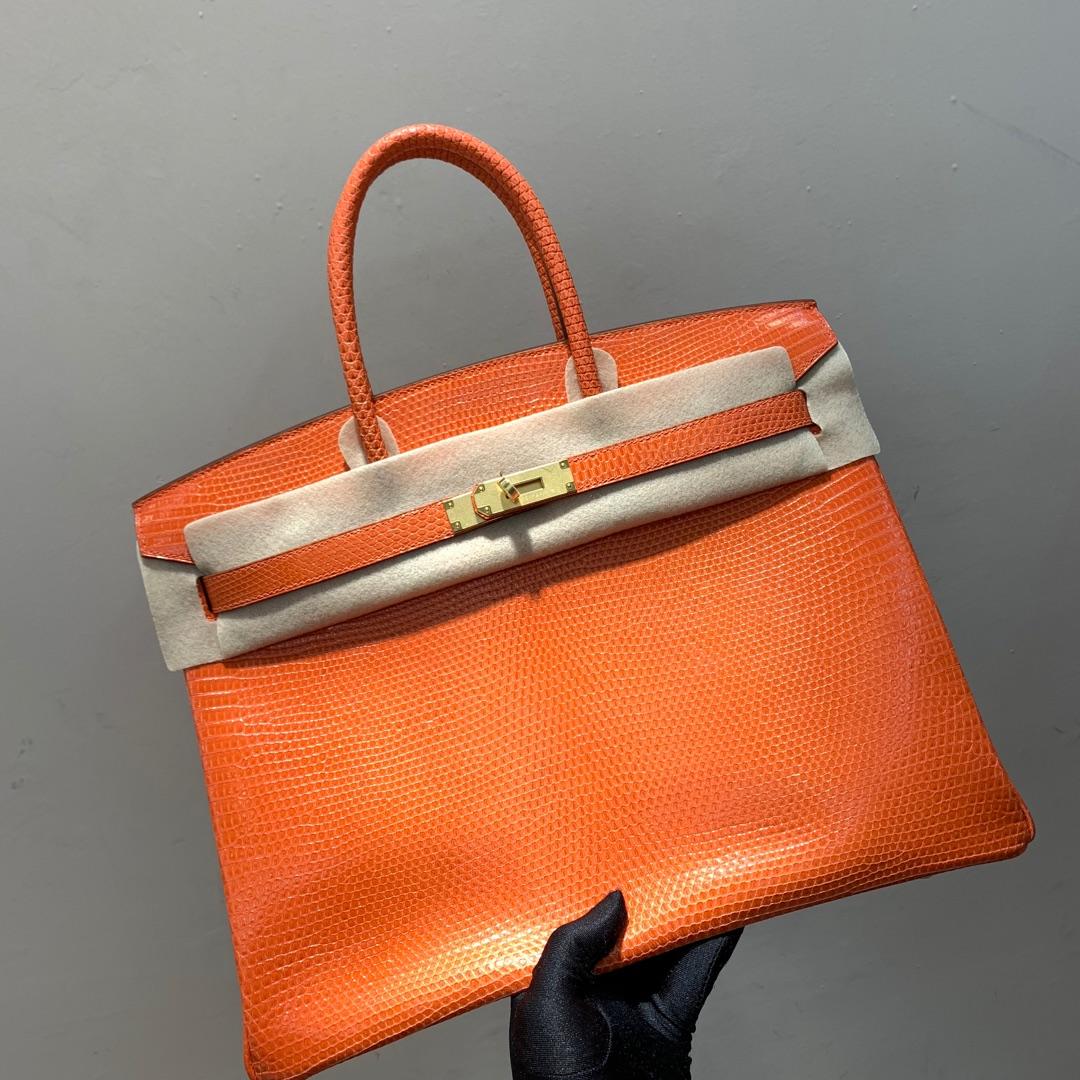 爱马仕铂金包 Birkin 35cm Lizard 东南亚顶级蜥蜴皮 93 Orange 橙色 金扣 顶尖工艺