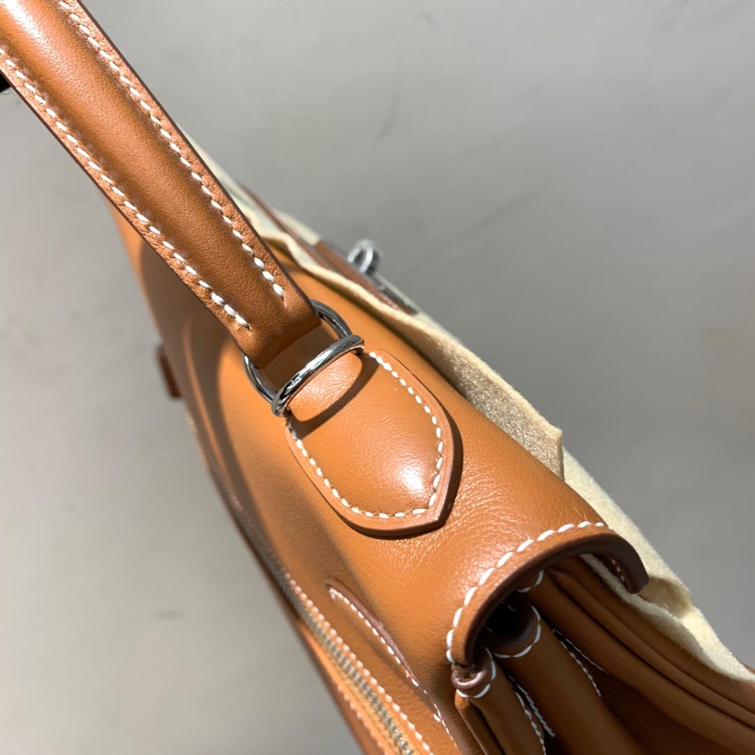 爱马仕包包 Kelly Lakis 32cm 法国顶级swift皮 37 Gold 金棕 银扣 顶级工艺