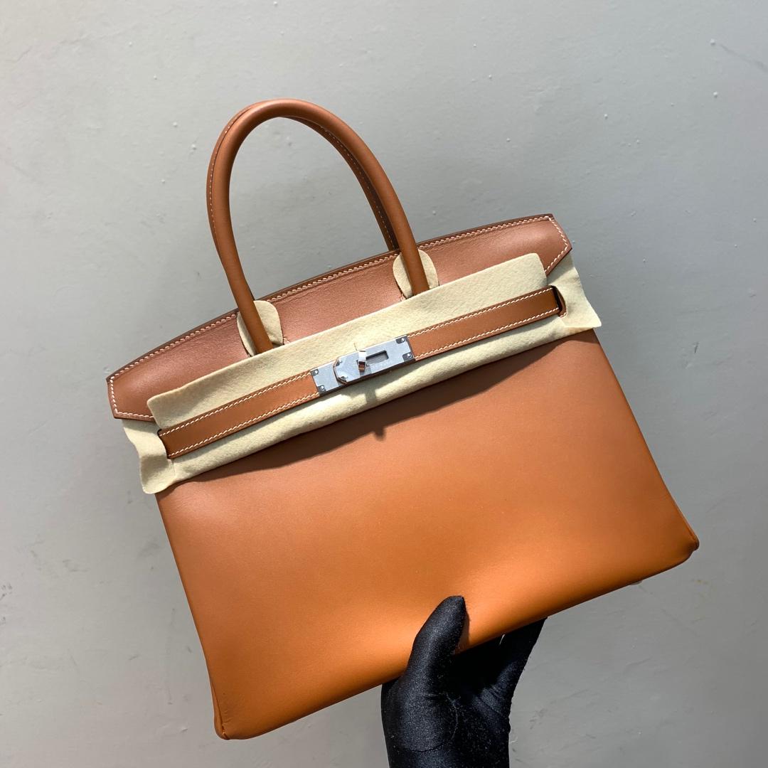 爱马仕铂金包 Birkin 30cm Barenia 法国顶级马鞍皮 37 Gold 金棕 银扣 顶尖工艺