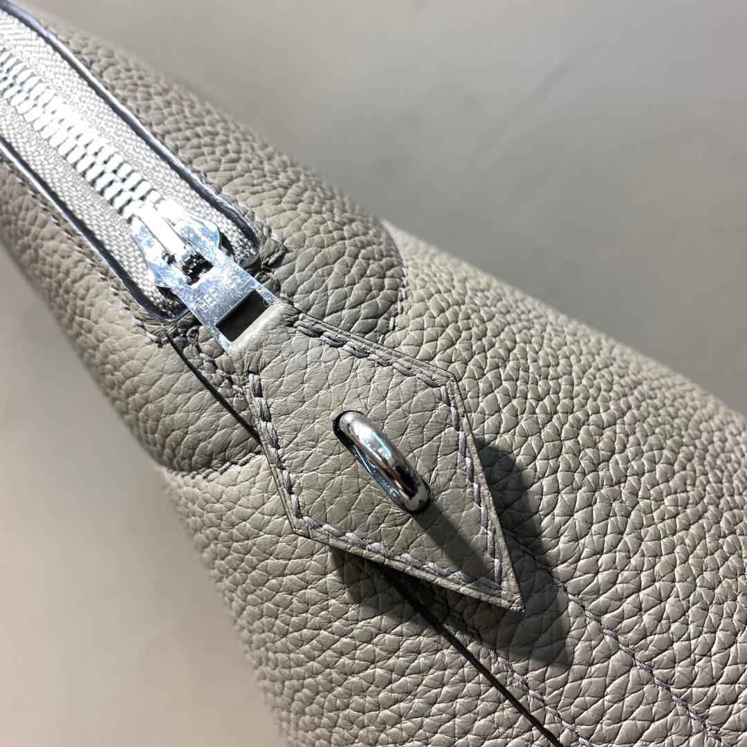 爱马仕Hermes Bolide 31cm Clemence 法国顶级tc皮 8F Etain 锡器灰 银扣 顶级工艺手缝蜡线