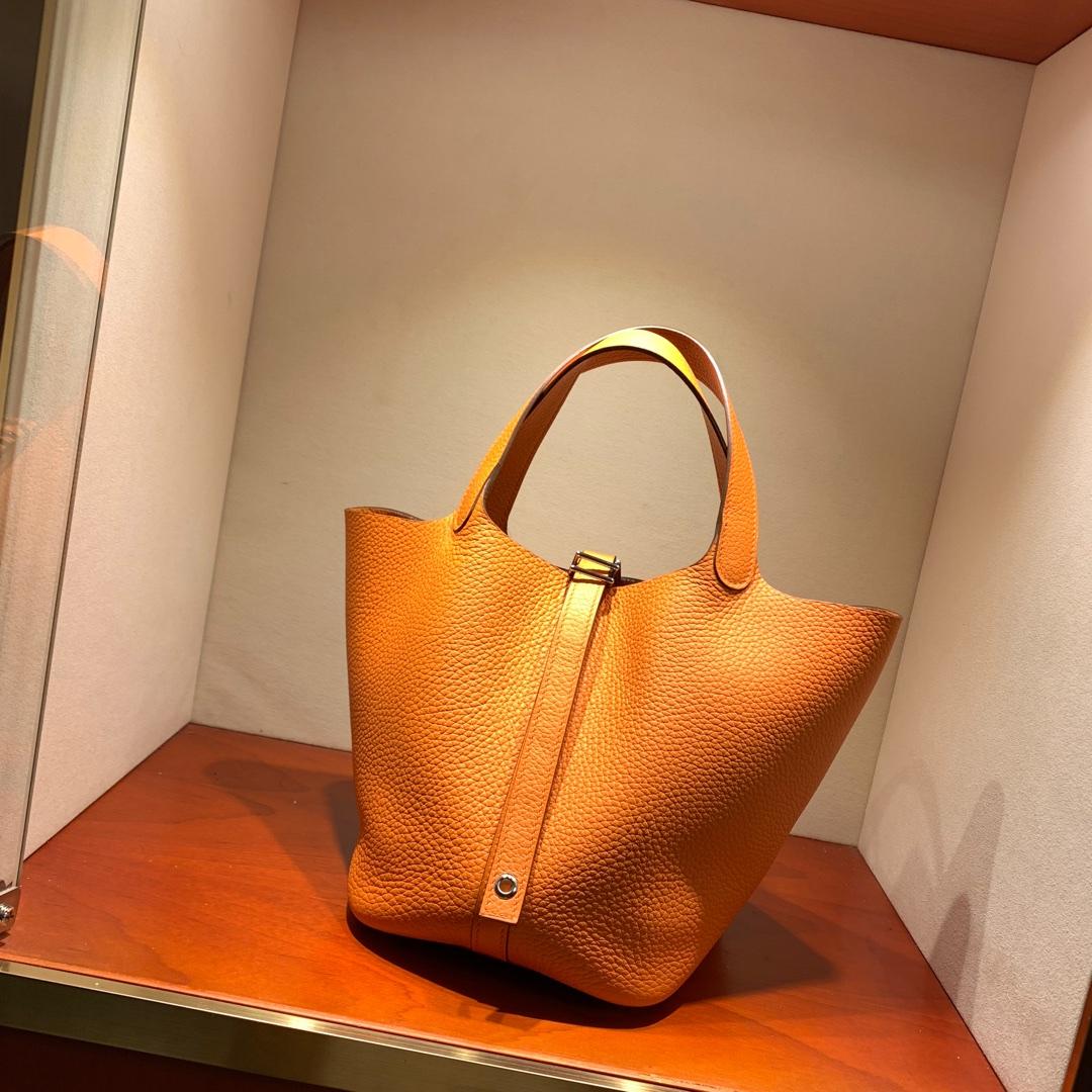 爱马仕包包批发 Picotin Lock18cm 法国顶级Tc皮 93 Orange 橙色 银扣 手缝蜜蜡线缝制