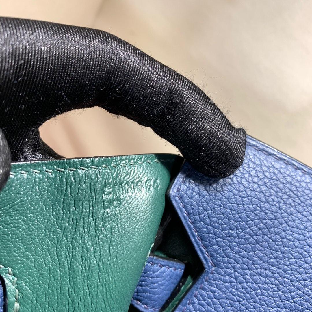 爱马仕2018 AW秋冬限量版 Birkin 30cm Officier 73 Blue Saphir 宝石蓝拼 Z6 Malachite 孔雀绿 银扣 顶尖工艺