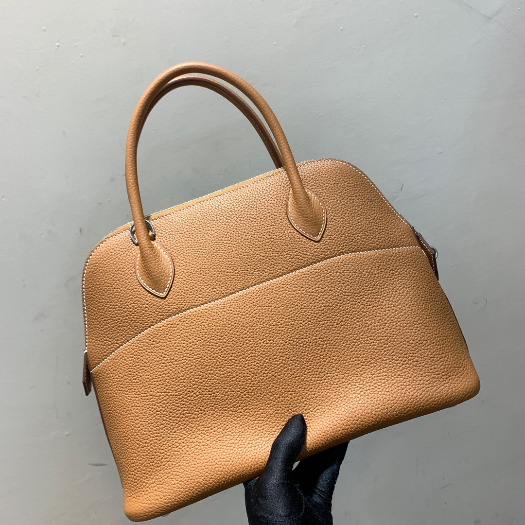 爱马仕Hermes Bolide 31cm Clemence 法国顶级tc皮 37 Gold 金棕 银扣 顶级工艺手缝蜡线