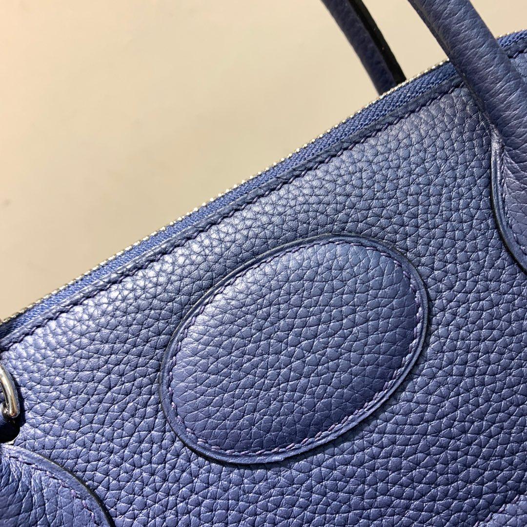 爱马仕Hermes Bolide 31cm Clemence 法国顶级tc皮 73 Blue Saphir 宝石蓝 银扣 顶级工艺手缝蜡线
