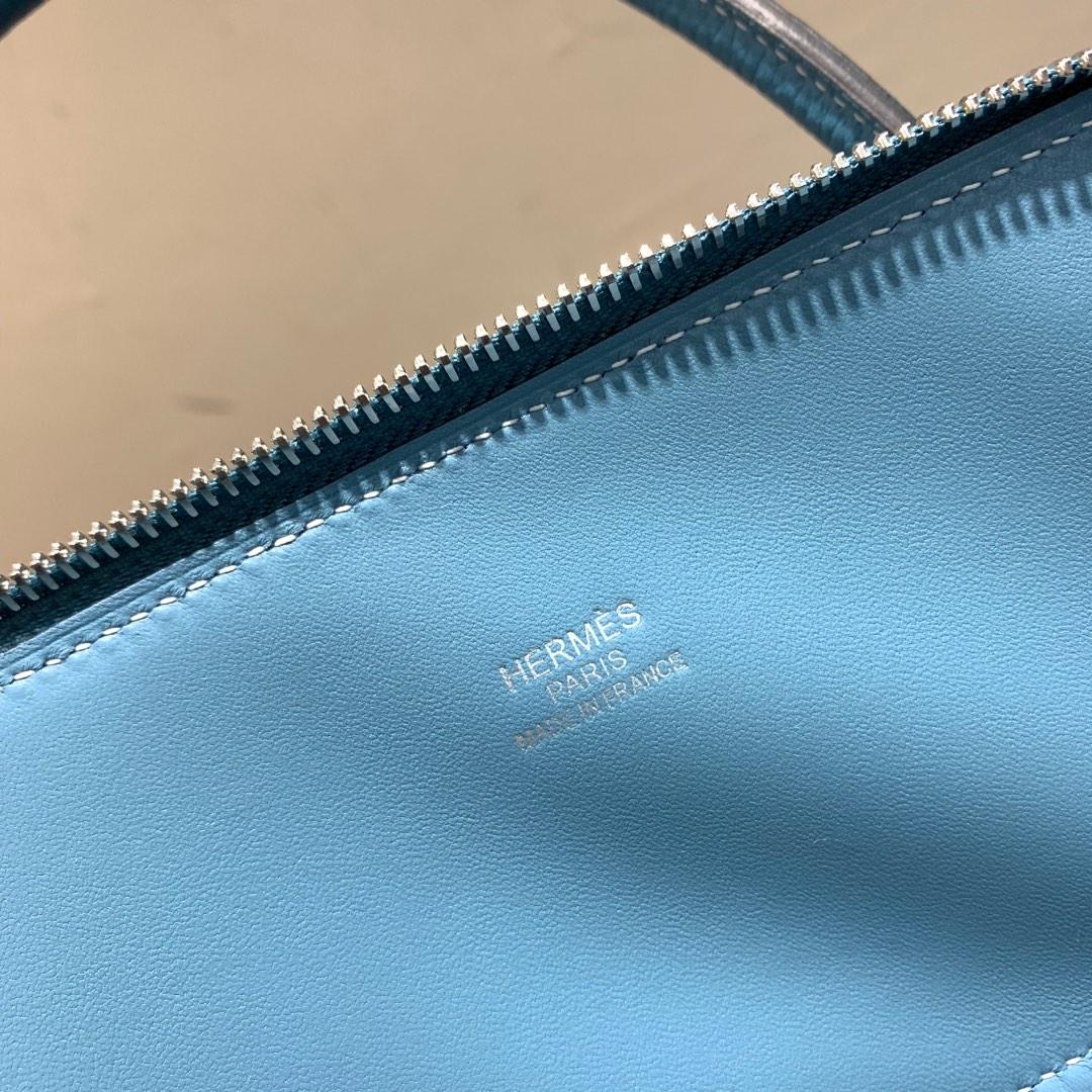 爱马仕Hermes Bolide 31cm Clemence 法国顶级tc皮 75 Blue Jean 牛仔蓝 银扣 顶级工艺手缝蜡线