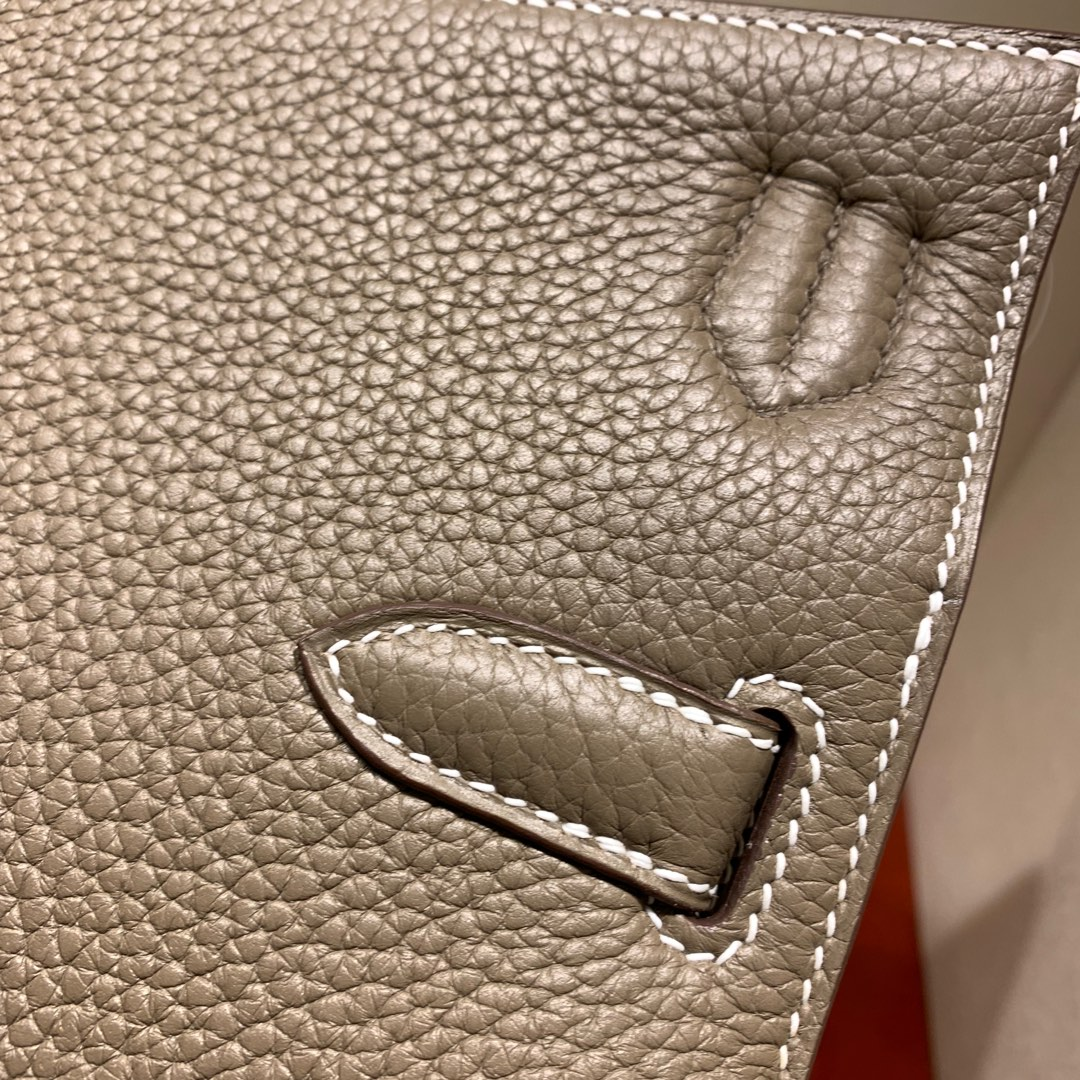 爱马仕包包 Jypsiere28cm 法国顶级clemence 18 Etoupe 大象灰 银扣 手缝蜜蜡线缝制