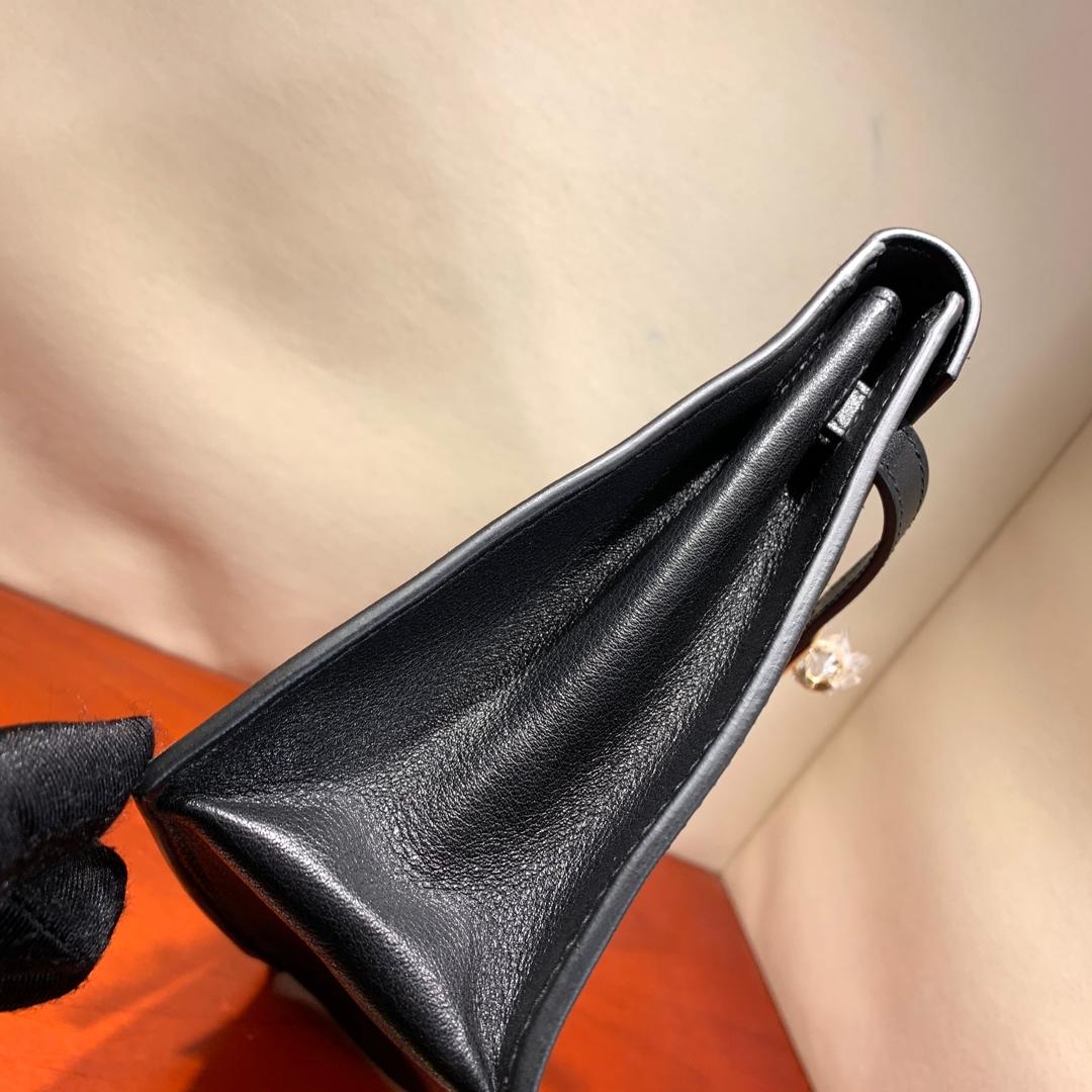 爱马仕爆款 Kelly Danse 21cm Kelly的缩小迷你版 法国顶级swift皮 89 Noir 黑色 金扣 可斜跨可手拿