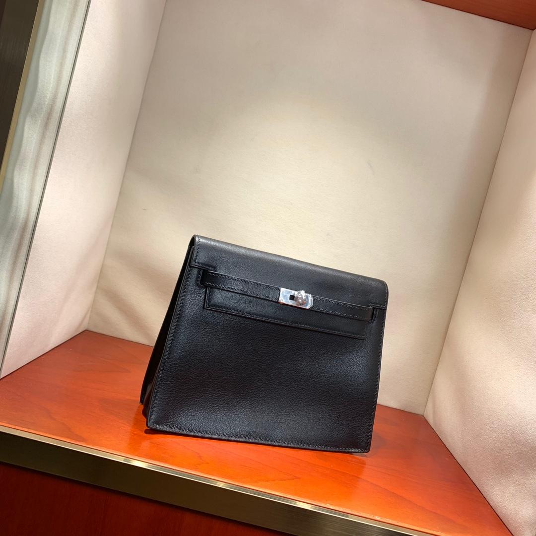爱马仕爆款 Kelly Danse 21cm Kelly的缩小迷你版 法国顶级swift皮 89 Noir 黑色 银扣 可斜跨可手拿