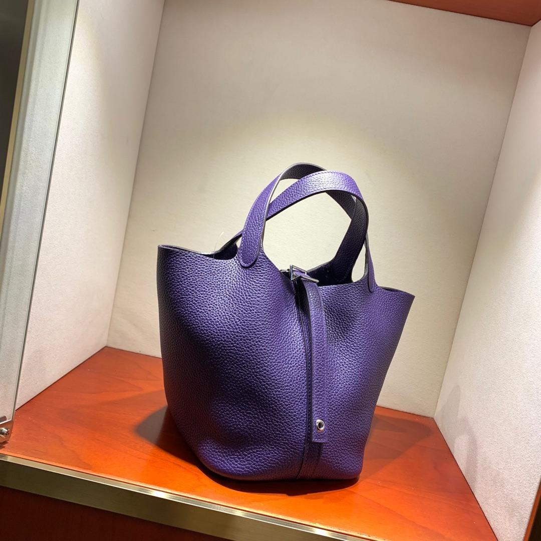 爱马仕包包批发 Picotin Lock18cm 法国顶级Tc皮 9K Lris 紫罗兰 银扣 手缝蜜蜡线缝制