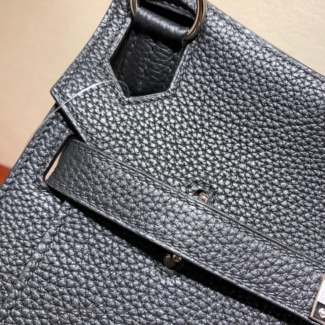 爱马仕包包 Jypsiere28cm 法国顶级clemence 89 Nior 黑色 银扣 手缝蜜蜡线缝制