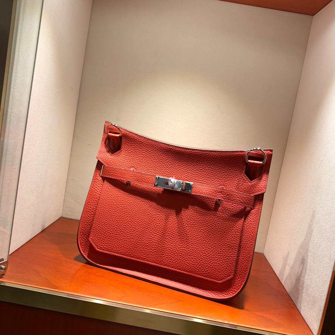 爱马仕包包 Jypsiere28cm 法国顶级clemence S5 Rouge Tomate 番茄红 银扣 手缝蜜蜡线缝制