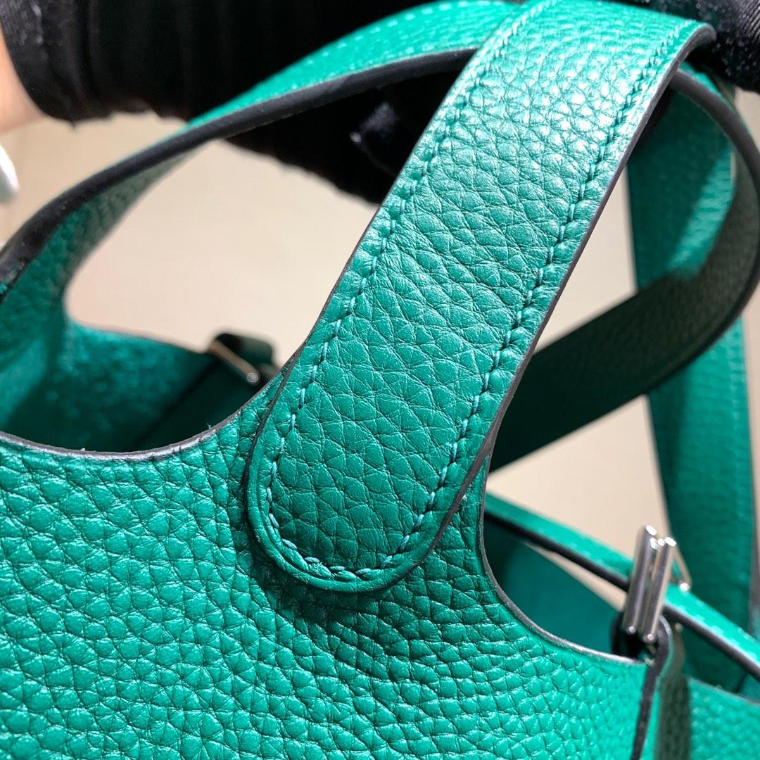 爱马仕包包批发 Picotin Lock18cm 法国顶级Tc皮 U4 Vert Vertigo 丝绒绿 银扣 手缝蜜蜡线缝制