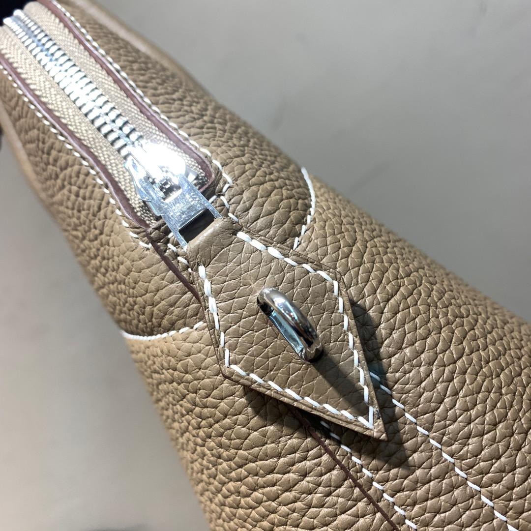 爱马仕Hermes Bolide 31cm Clemence 法国顶级tc皮 18 Etoupe 大象灰 银扣 顶级工艺手缝蜡线