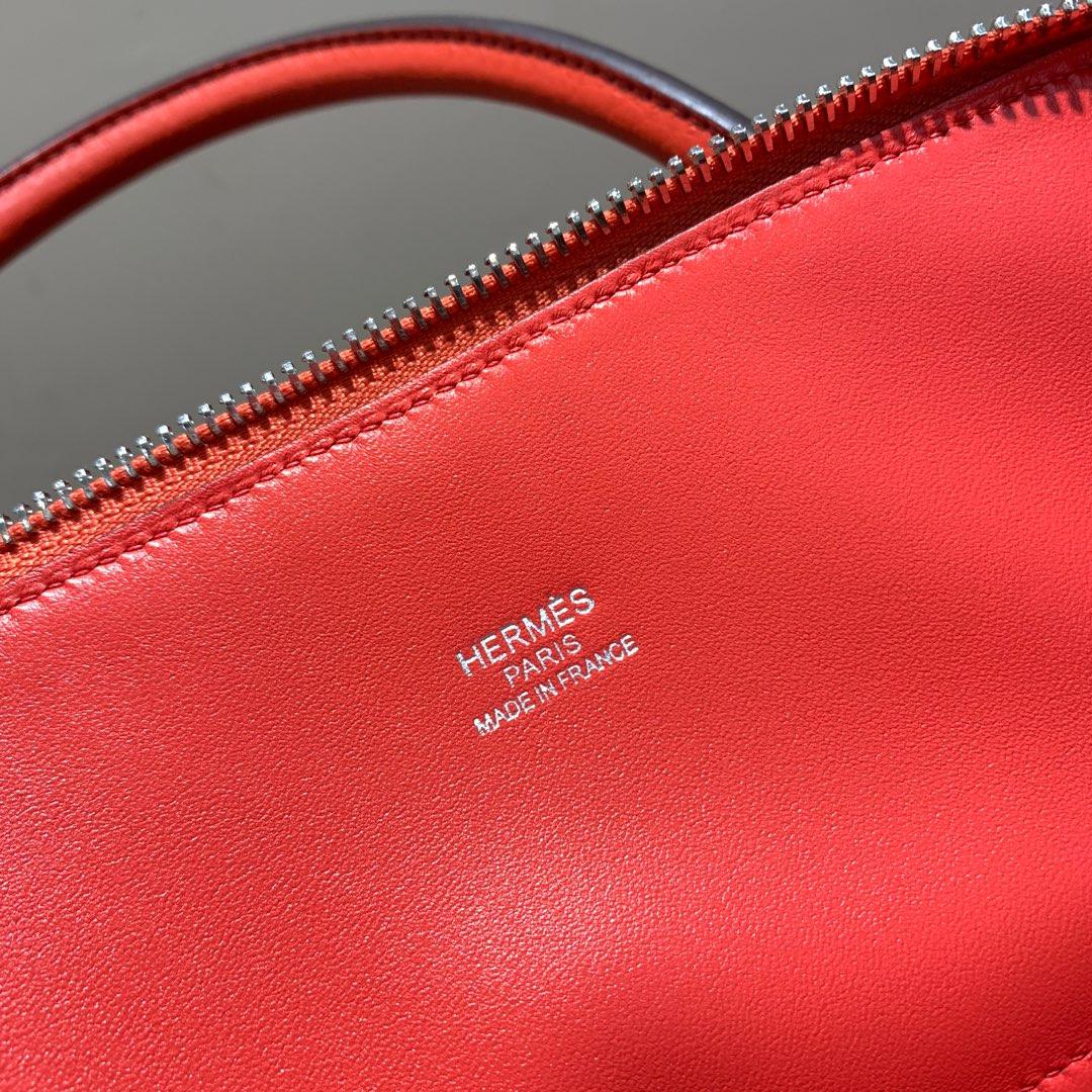 爱马仕Hermes Bolide 31cm Clemence 法国顶级tc皮 S5 Rouge Tomate 番茄红 银扣 顶级工艺手缝蜡线