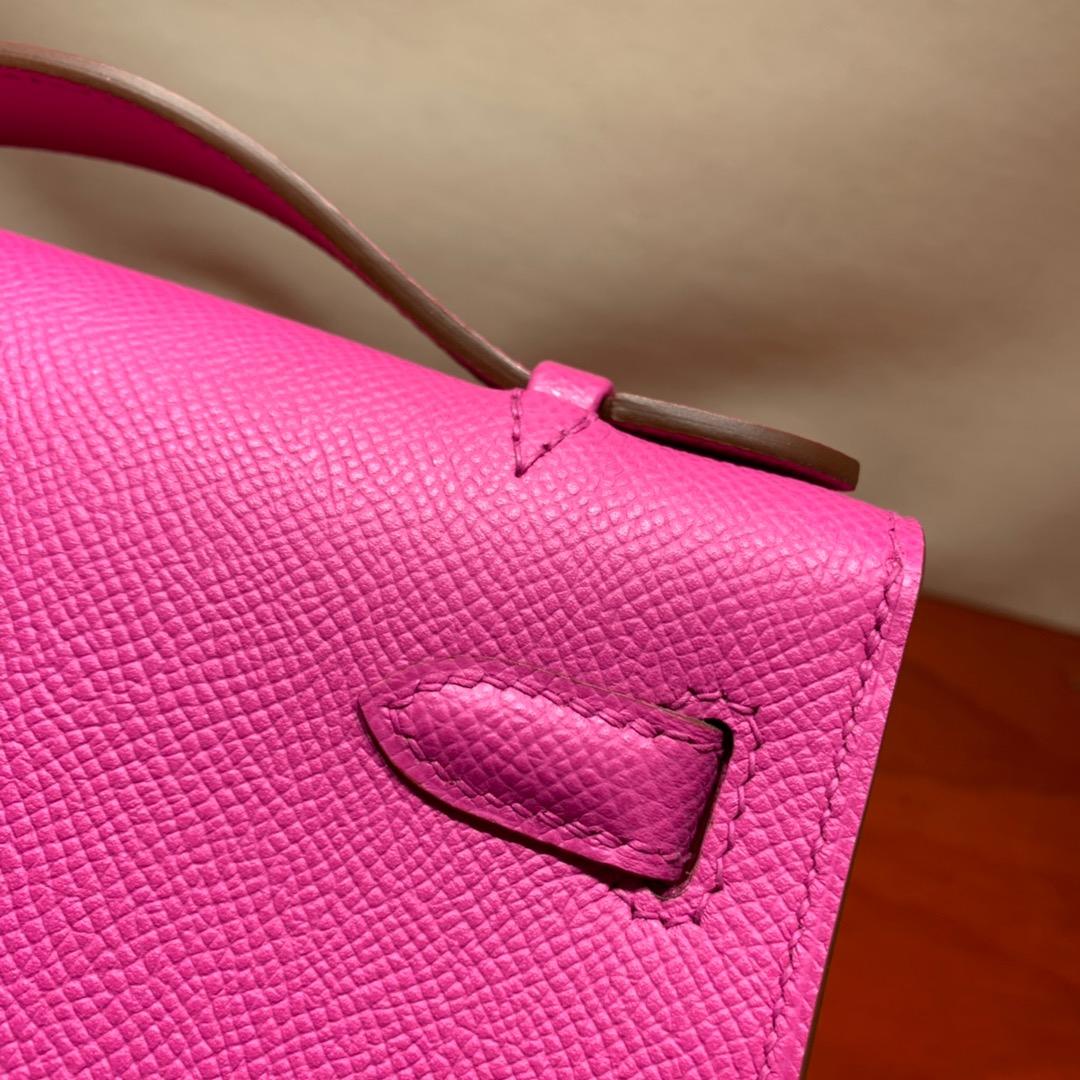 爱马仕包包批发 Kelly Pochette 22cm 法国顶级Epsom 9i Magnolia 玉兰紫 银扣 顶尖工艺