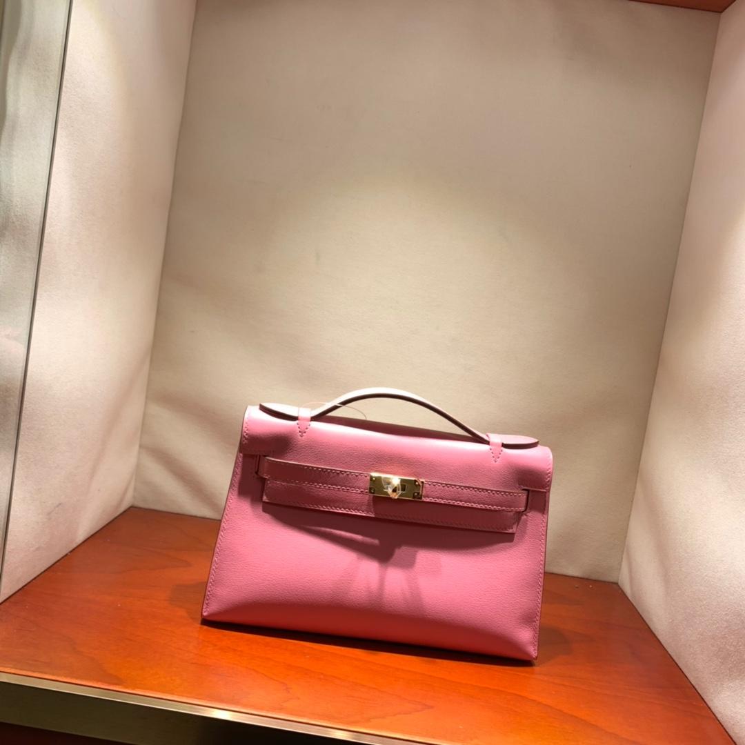 爱马仕包包批发 Kelly Pochette 22cm 法国顶级Epsom 1Q Rose Conpetti 奶昔粉 金扣 顶尖工艺