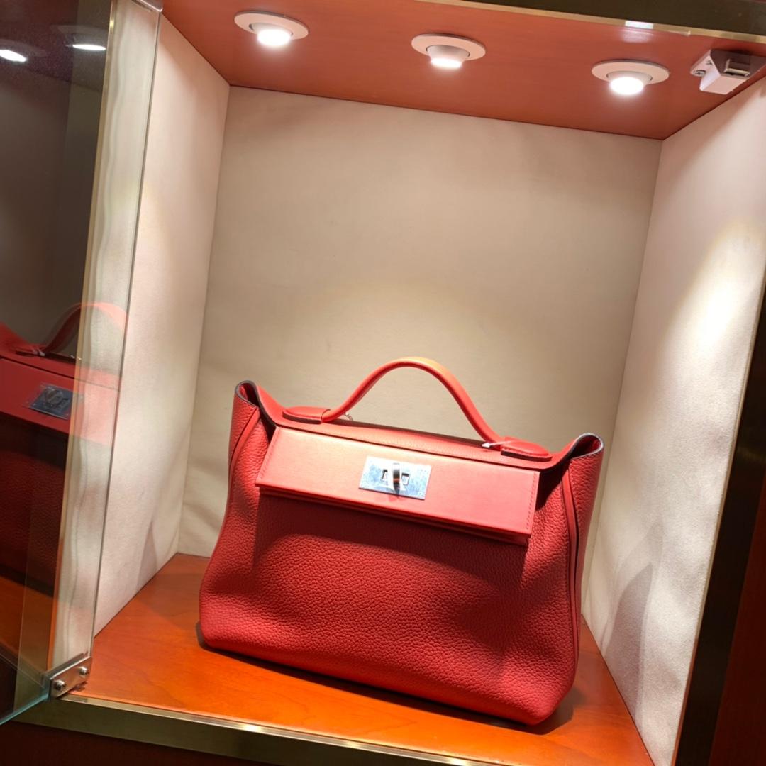 爱马仕包包批发 24-24Kelly 29cm 法国顶级Clemence Q5 Rouge Casaqbe 中国红 银扣 顶尖工艺 手缝蜜蜡线缝制