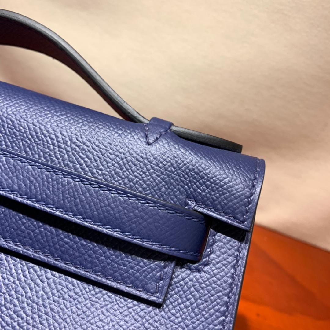 爱马仕包包批发 Kelly Pochette 22cm 法国顶级Epsom 73 Blue Saphir 宝石蓝 金银扣 顶尖工艺