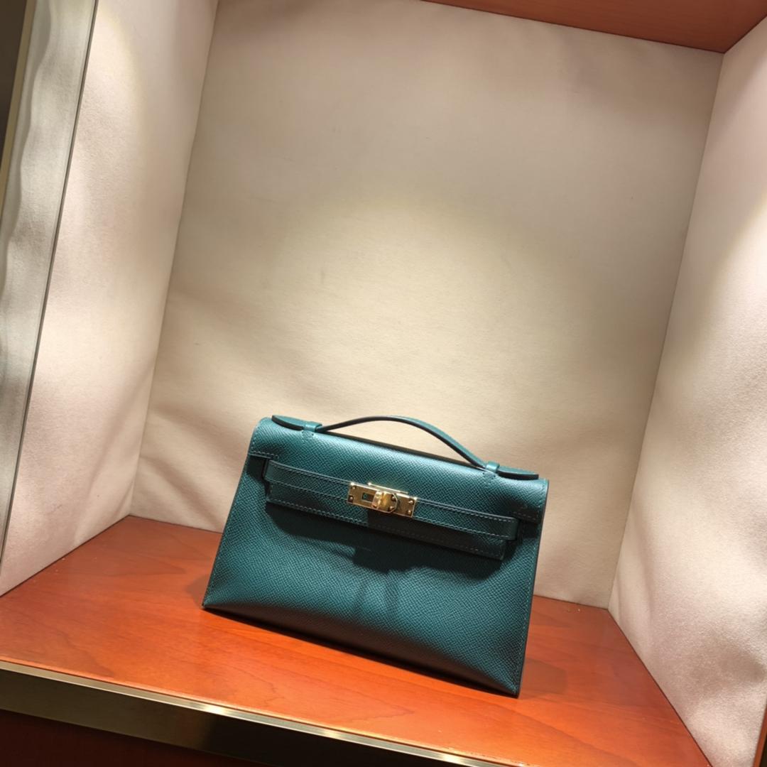 爱马仕包包批发 Kelly Pochette 22cm 法国顶级Epsom Z6 Malachite 孔雀绿 金银扣 顶尖工艺