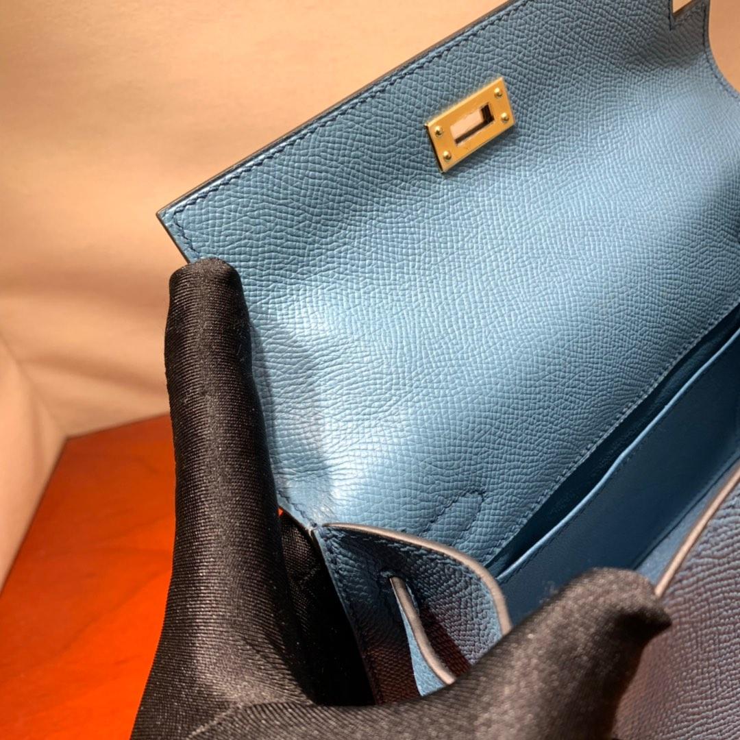 爱马仕包包批发 Kelly Pochette 22cm 法国顶级Epsom 75 Blue Jean 牛仔蓝 金扣 顶尖工艺